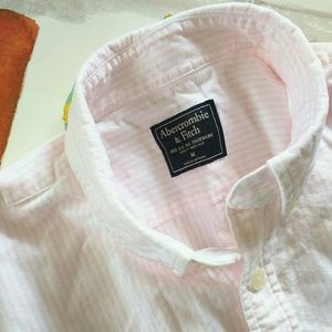 Abercrombie & Fitch Shirts - Abercrombie & Fitch Pink White Striped Shirt M